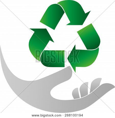 Recycling Arrows And Hand, Recycle Sign And Recycle Logo