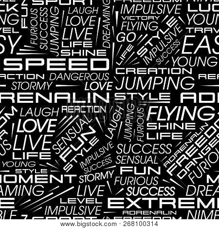 Vector Seamless Pattern In The Style Of Racing Cars With The Words Speed, Extreme, Flying, Adrenalin