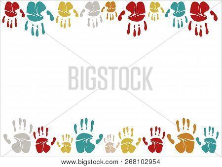 Family Handprints Vector Illustration. Family Handprints Of Mom, Dad, Child And Baby. Social Illustr