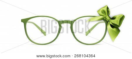 Christmas Eyeglasses Gift Card, Green Spectacles And Green Ribbon Bow, Isolated On White Background