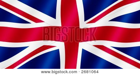 British Union Jack Flag Blowing In The Wind Illustration.