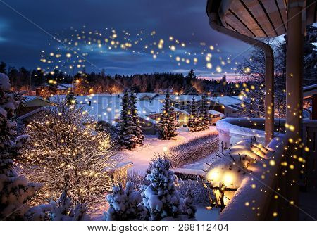 Snowy Christmas Street Magical Winter Feeling Scenery Seen From Balcony