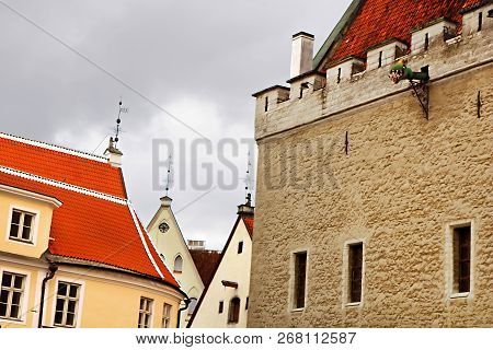 Old Building And The Tallinn Town Hall In The Tallinn Old Town, Estonia, Next To The Town Hall Squar