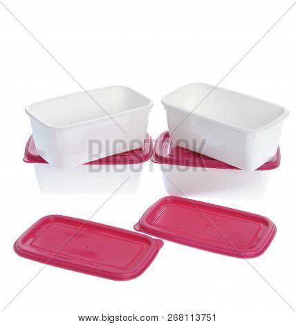 Caserola Plastic Boxes Set With Red Lids, Isolated On White Background