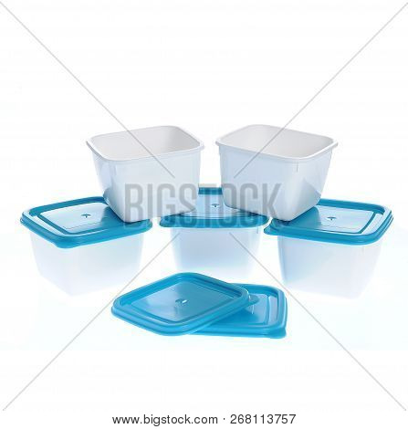 Caserola Plastic Boxes Set With Blue Lids, Isolated On White Background