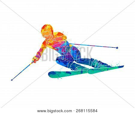 Abstract Skiing. Descent Giant Slalom Skier From Splash Of Watercolors. Winter Sports. Vector Illust