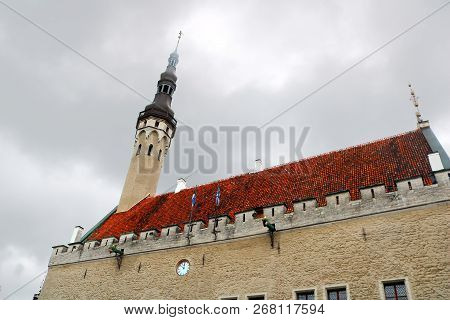 The Tallinn Town Hall In The Tallinn Old Town, Estonia, Next To The Town Hall Square. It Is The Olde
