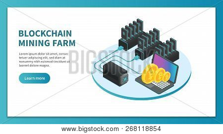 Bitcoin Mining Isometric Concept. Cryptocurrency Mining Farm, Bitcoin Marketplace Platform. Crypto B