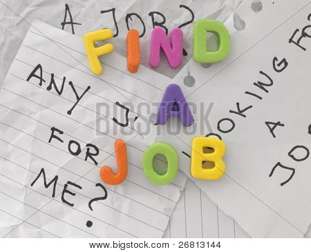 Find a Job title made of colorful rubber letters