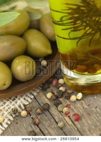 olives, oil and pepper spice