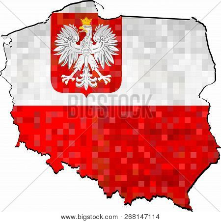 Grunge Poland Map With Flag Inside - Illustration,  Abstract Grunge Mosaic Map Of Poland