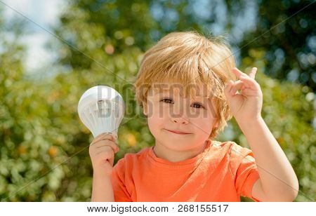 New Idea, Discovery. Smart Little Junior, Childlike Concept. Child With Lightbulb. Success, Bright I