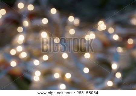 A Background With Lights Bokeh With Copy Space.