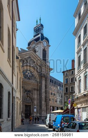 Lyon, France - July 18, 2018: The New Hotel-dieu Converted After 3 Years Of Works In A Commercial An