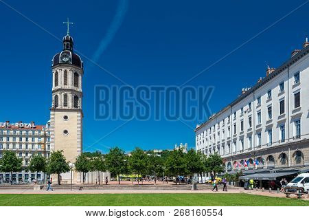 Lyon, France - July 18, 2018: Bell Tower Of Charity Near The Place Bellecour.