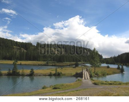 Island And Bridges, Cascade Pond - Banff National Park, Alberta, Canada