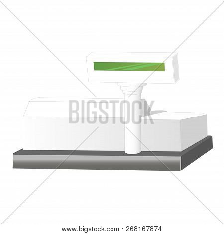 Cash Register Isolated On White Background. Cash Machine Vector Illustration