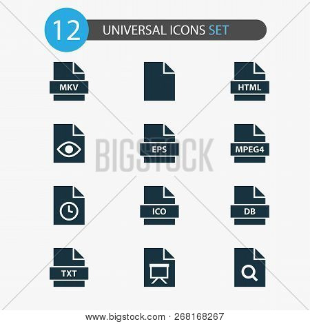 Document Icons Set With Mpeg4, Search, Temporary And Other Format Elements. Isolated  Illustration D