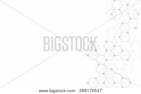 Vector Hexagons Pattern. Geometric Abstract Background With Simple Hexagonal Elements. Medical, Tech