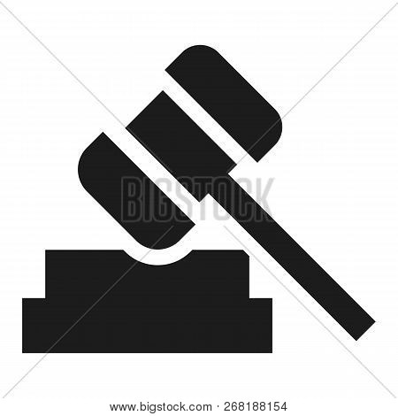 Judge Hammer Icon. Simple Illustration Of Judge Hammer Vector Icon For Web Design Isolated On White