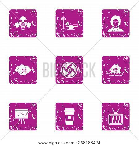 Jeopardy Icons Set. Grunge Set Of 9 Jeopardy Vector Icons For Web Isolated On White Background