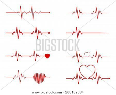 Heart Rhythm Set, Electrocardiogram, Ecg - Ekg Signal, Heart Beat Pulse Line Concept Design Isolated