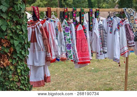 Old Traditional Romanian Folk Costumes With Embroidery. Specific For Bistrita-nasaud Area Romania An