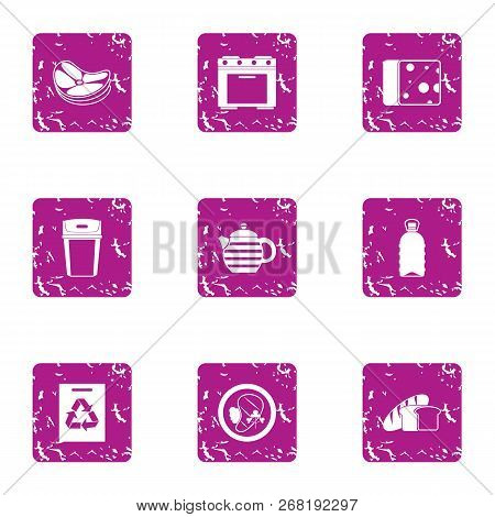 Continental Breakfast Icons Set. Grunge Set Of 9 Continental Breakfast Vector Icons For Web Isolated