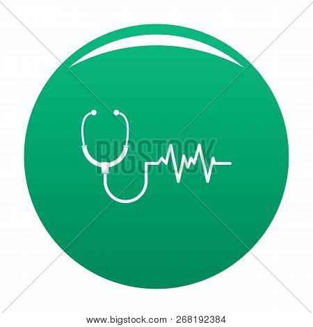 Stethoscope Icon. Simple Illustration Of Stethoscope Vector Icon For Any Design Green