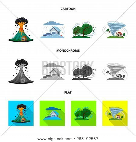 Vector Illustration Of Natural And Disaster Logo. Collection Of Natural And Risk Stock Symbol For We