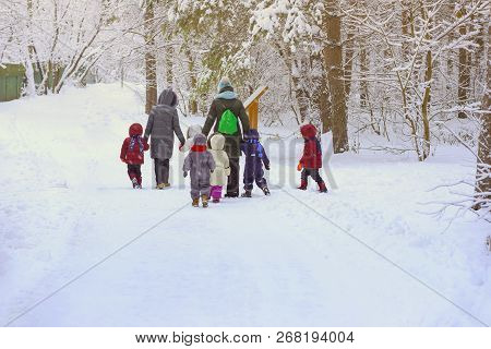 Group Of Unrecognizable Litle Kids With Teachers Of Kindergarten, Back To Us, Walk Holding Hands In
