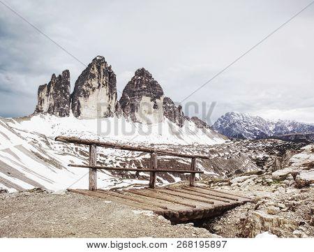Wooden Bridge And Wooden Handrail At Difficulty Part Of Popular Trek Around Tre Cime Di Lavaredo