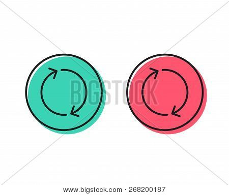 Refresh arrow line icon. Rotation Arrowhead symbol. Navigation pointer sign. Positive and negative circle buttons concept. Good or bad symbols. Refresh Vector poster