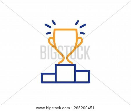 Winner Podium Line Icon. Sports Trophy Symbol. Championship Achievement Sign. Colorful Outline Conce