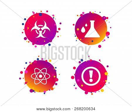 Attention And Biohazard Icons. Chemistry Flask Sign. Atom Symbol. Gradient Circle Buttons With Icons