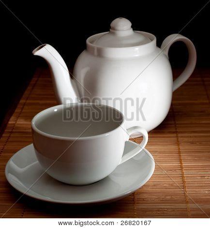 Tea and teapot on the bamboo napkin