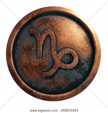 Horoscope Sign Capricon In The Copper Circle, 3d Rendering