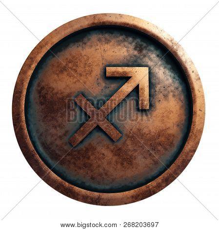 Horoscope Sign Sagittarius In The Copper Circle, 3d Rendering