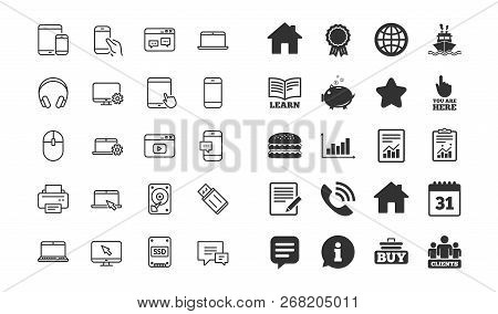 Mobile Device Line Icons. Set Of Laptop, Tablet Pc And Smartphone Signs. Hdd, Ssd And Flash Drives.