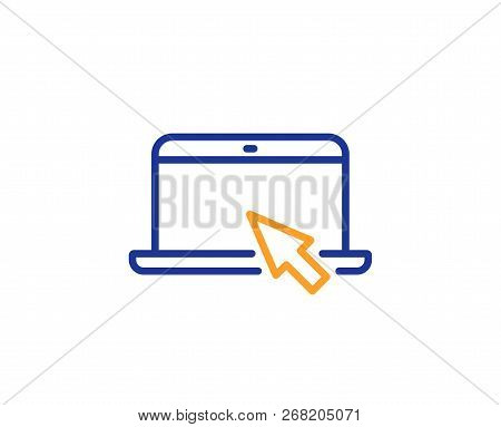Laptop Computer Icon. Notebook With Mouse Cursor Sign. Portable Personal Computer Symbol. Colorful O