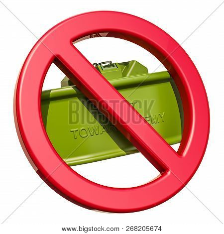 Forbidden Sign With Anti-personnel Mine, 3d Rendering Isolated On White Background