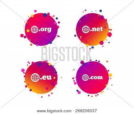 Top-level Internet Domain Icons. Com, Eu, Net And Org Symbols With Globe. Unique Dns Names. Gradient