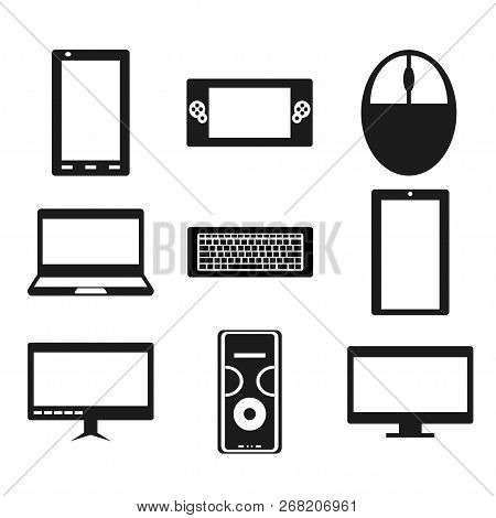 Set Of Popular Gadgets Like Smartphone, Portable Game Console, Computer Mouse, Laptop, Keyboard, Tab