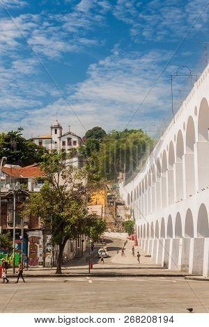 Rio De Janeiro, Brazil - January 28, 2015: Carioca Aqueduct And Santa Teresa District In Rio De Jane
