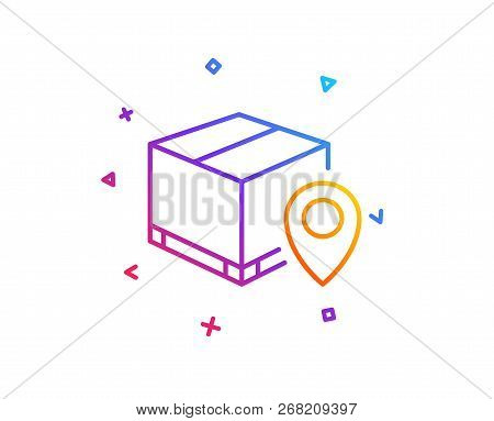 Parcel Tracking Line Icon. Delivery Monitoring Sign. Shipping Box Location Symbol. Gradient Line But