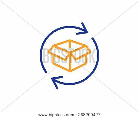 Exchange Of Goods Line Icon. Return Parcel Sign. Package Tracking Symbol. Colorful Outline Concept.