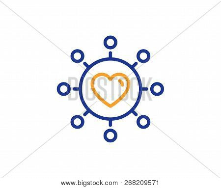 Love Dating Line Icon. Relationships Network Sign. Valentines Day Or Heart Symbol. Colorful Outline