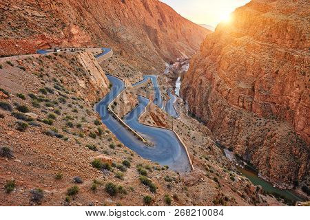Dades Gorge Is A Gorge Of Dades River In Atlas Mountains In Morocco. Dades Gorge Depth Is From 200 T