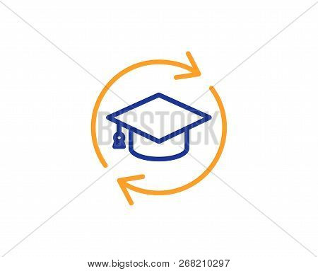 Continuing Education Line Icon. Online Education Sign. Colorful Outline Concept. Blue And Orange Thi