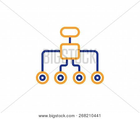Restructuring Line Icon. Business Architecture Sign. Delegate Symbol. Colorful Outline Concept. Blue